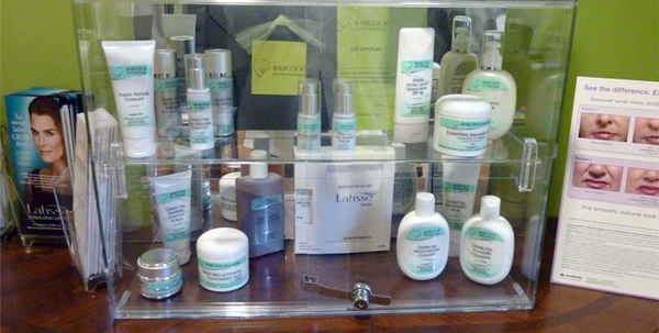 Check out our skin care products display in the office of Babcock Dermatolgy
